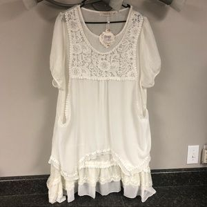 NWT Simply Couture ivory layered ruffle dress 2x